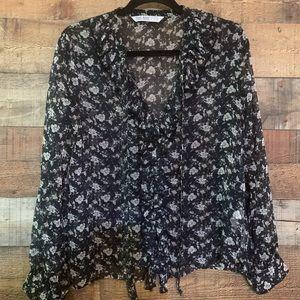 Zara Basic Navy floral top w/ ruffles, size small